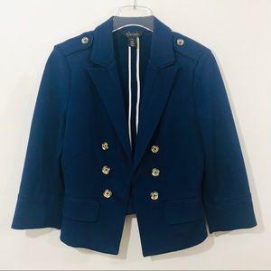 WHBM White House Black Market Blue Cropped Jacket